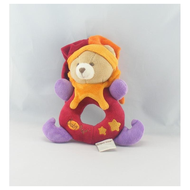 Doudou anneau hochet ours arlequin rouge orange  BABY NAT