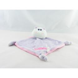 Doudou plat hippopotame mauve rose bonbon PARADISE