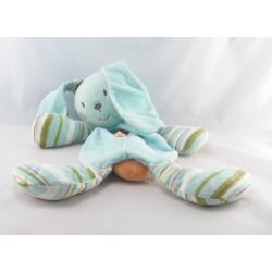 Doudou lapin bleu rayé vert attache tétine SUCRE D'ORGE