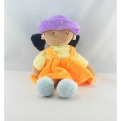 Doudou poupée fille métis robe orange bleu NOUNOURS