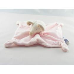 Doudou plat souris blanche rose OBAIBI