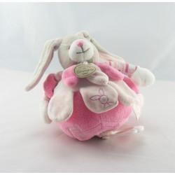 Doudou et compagnie plat lapin blanc rose col blanc