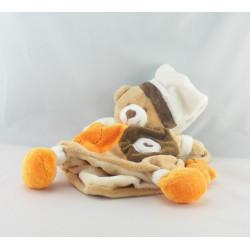 Doudou marionnette ours marron jaune mouchoir BABY NAT