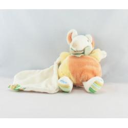 Doudou et compagnie souris blanc rose vert mouchoir
