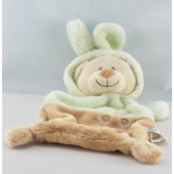 Doudou plat ours déguisé en lapin vert beige GRAIN DE BLE