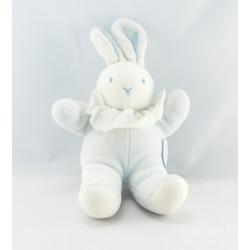 Doudou lapin bleu collerette blanche MOULIN ROTY