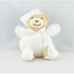 Doudou ours blanc feuilles brodées Dragée KALOO