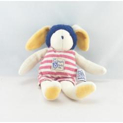 Doudou séraphin lapin rayé bleu MOULIN ROTY