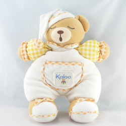 Doudou Ours boule endormi blanc carreaux orange KALOO