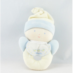 Doudou lutin bébé jaune bleu hochet BABI COROLLE