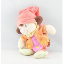 Doudou lutin fille arlequin rose orange NICOTOY