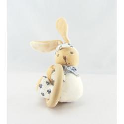 Mini Doudou lapin blanc fleurs bleu Lys KALOO