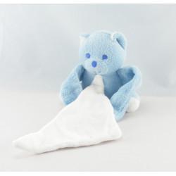 Doudou Ours bleu avec mouchoir Musti Mustela