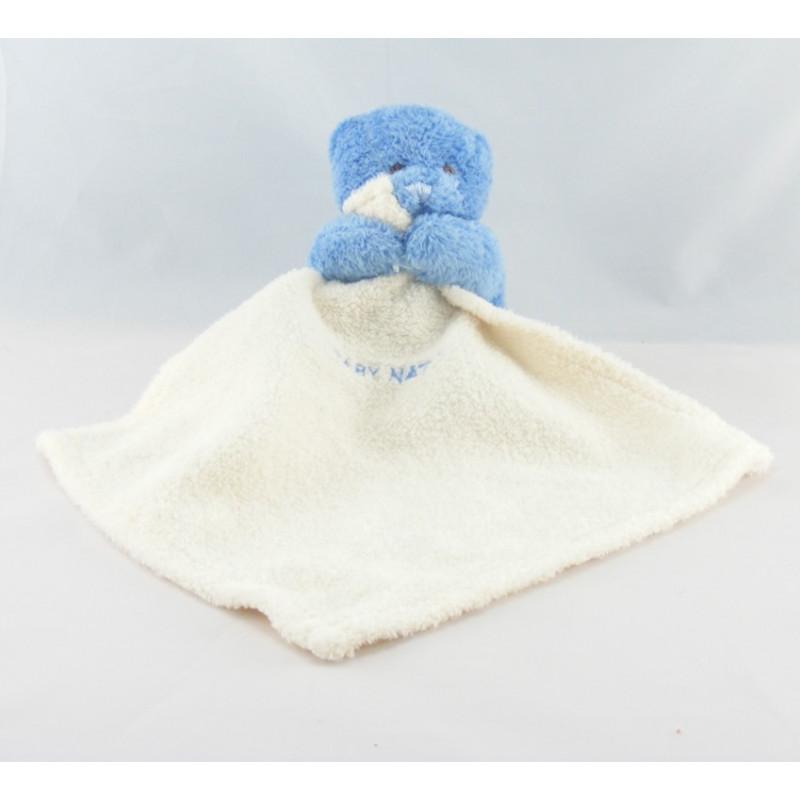 Doudou plat ours bleu mouchoir Baby nat lot de 2