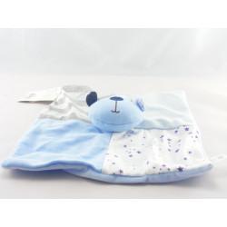 Doudou plat ours bleu ciel mouchoir