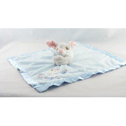 Doudou plat couverture bleu satin Winnie Tigger and Pooh Disney