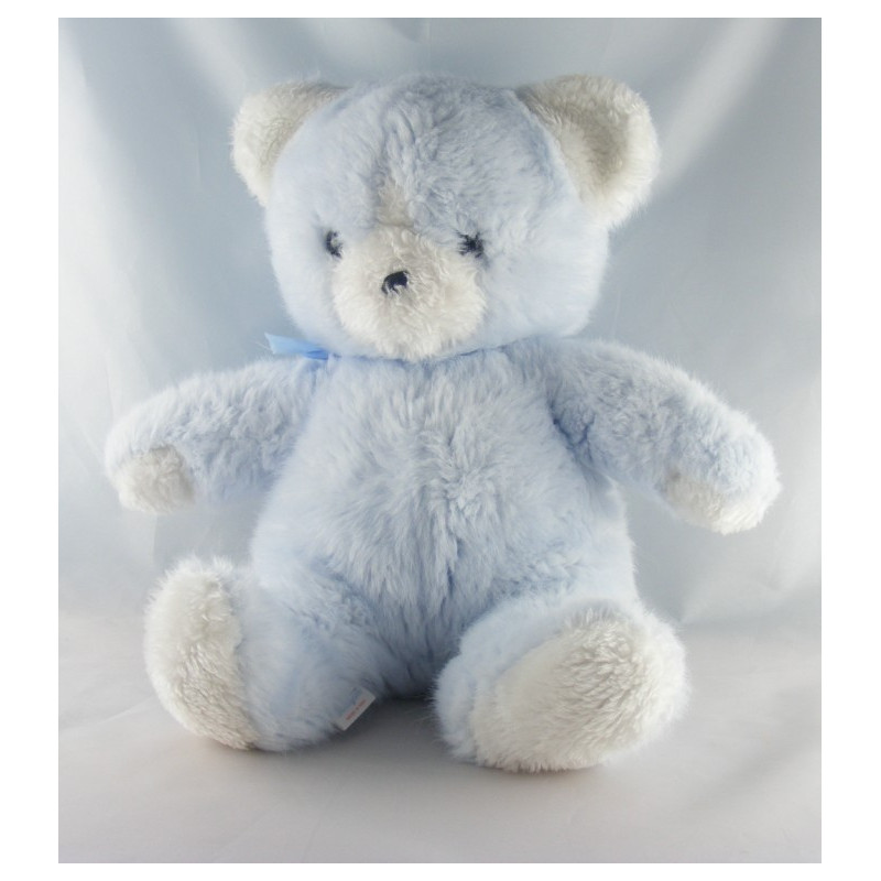 Doudou Peluche ours blanc bleu BOULGOM
