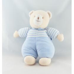 Doudou souris ours beige pyjama rayé bleu TROUSSELIER