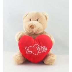 Doudou chien beige marron coeur rose Love NICOTOY