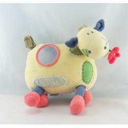 Doudou vache hochet ludique et tactile Jacadi
