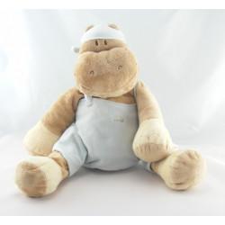 Grand Doudou hippopotame salopette bleu NOUKIE'S