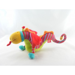Doudou Dragon rouge vert Dragobert MOULIN ROTY