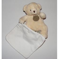 Doudou ours écru blanc avec mouchoir DOUDOU ET COMPAGNIE