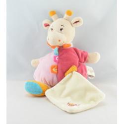 Doudou vache rose à pois avec mouchoir BABY NAT