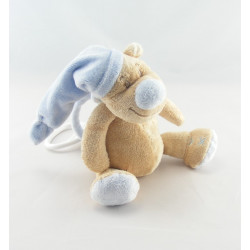 Doudou ours beige Tom bonnet bleu coeur DOUKIDOU
