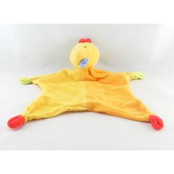 Doudou plat hippopotame orange jaune PARADISE TOYS
