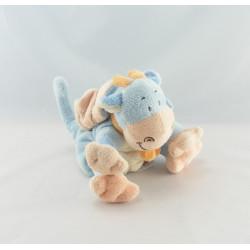 Doudou dragon bleu foulard orange BENGY
