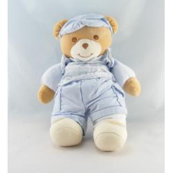 Doudou ours bleu vichy rayé coeur TAKINOU 22 cm