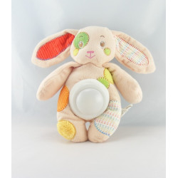 Doudou veilleuse lapin blanc jaune vert rose AUCHAN