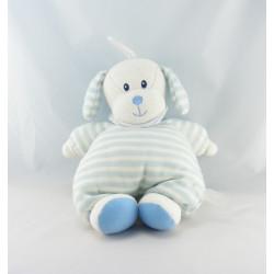 Doudou Chien blanc rayé bleu bavoir Luminou