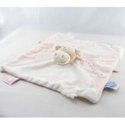 Doudou plat vache rose rosalie lola fleurs dentition NOUKIE'S