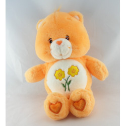 Peluche parlante Bisounours orange clair Groscopain fleurs CARE BEARS