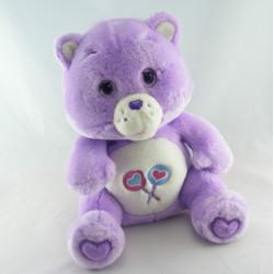 Peluche Bisounours mauve violet Groscadeau sucettes CARE BEARS
