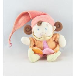 Doudou lutin fille arlequin rose orange NICOTOY 16 cm