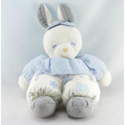 Doudou lapin blanc gris vichy bleu fleurs TARTINE ET CHOCOLAT