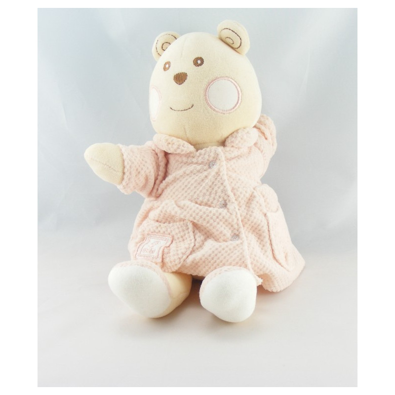 Doudou ours blanc rose B coeur Bébé NOUNOURS