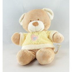 Doudou ours beige Pull jaune oiseau coeur NICOTOY
