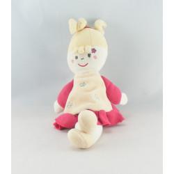 Doudou poupée fille béret et cape rose SUCRE D'ORGE