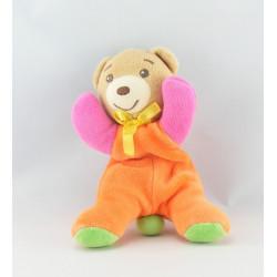 Mini doudou ours rose orange vert col jaune KALOO