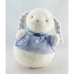 Doudou lapin blanc rose bleu JACADI