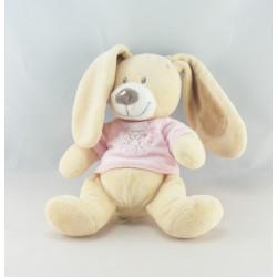 Doudou chien lapin robe rose oiseau maison MOTS D'ENFANTS