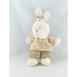 Doudou lapin beige velours brodé KITCHOUN KIABI NICOTOY