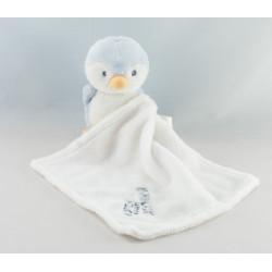 Doudou semi plat oiseau pingouin bleu blanc KIMBALOO