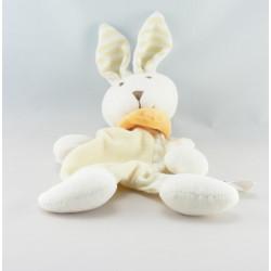 Doudou lapin blanc jaune GERCA