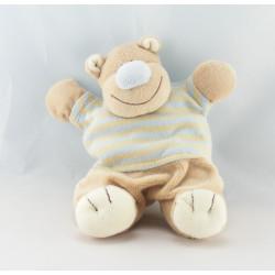 Doudou semi plat hippopotame beige rayé bleu KIABI