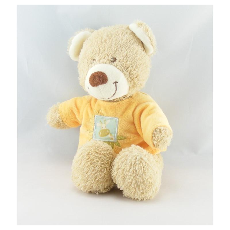 Doudou ours beige tee shirt orange girafe TEX